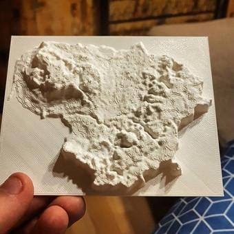 3D spausdintas Lietuvos reljefas