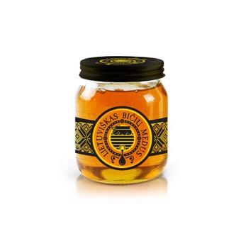 Lietuviško bičių medaus etikečių dizainas.  Permatoma etiketė ant stiklo, juoda ant juodo dangtelio.