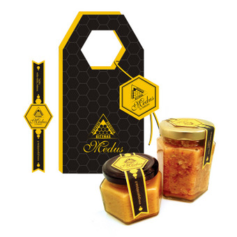 Lipnių etikečių ir maišelio-dėžutės dizainas. Patobulintas logotipas.