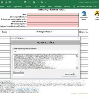 Užsakymo pateikimo forma klientui, medžiagų paieška iš įmonės duomenų bazės.
