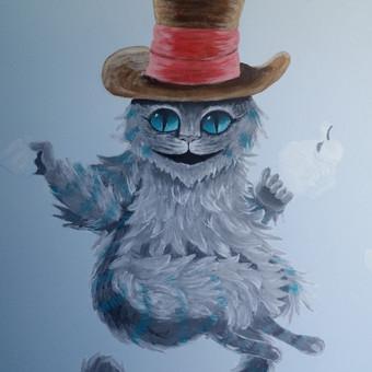 Katinas. Fragmentas, piešinys ant sienos. Alisa stebuklų šaly.