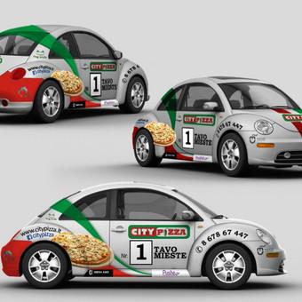 "City Pizza"" reklama ant automobilio Užsakovas: UAB ""Promo Cars"" (Lietuva)"