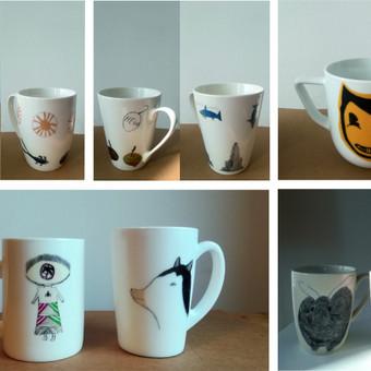 Vaikų (7-10m.) piešiniai perkelti ant individualių puodelių. 2018m.