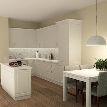 Klasikinio stikliaus virtuves baldai, frezuoti MDF   fasadai