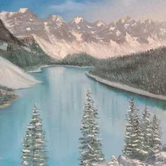 """""""Kalnų ežeras"""", aliejus-drobė, 61×50 cm"""
