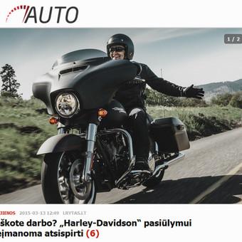 Kabinanti antraštė, taikliai sudėliota informacija - žurnalistams pateikiamas kąsnis, kurį skanu praryti. Harley-Davidson PR.