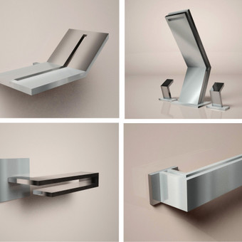 Vonios kambario objektų dizainas. Muilinė, maišytuvas, durų rankenos.