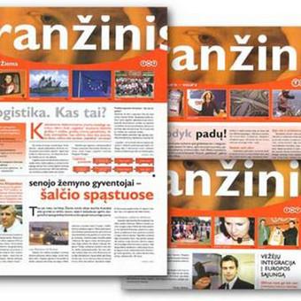 TNT, logistikos įmonės naujienlaiškis: dizainas, tekstai, spauda.