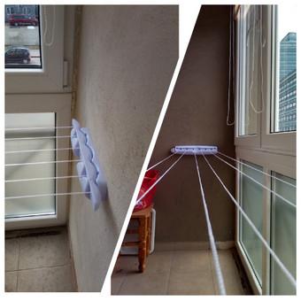 Skalbinių džiovyklės primontavimas tarp 2 sienų balkone.