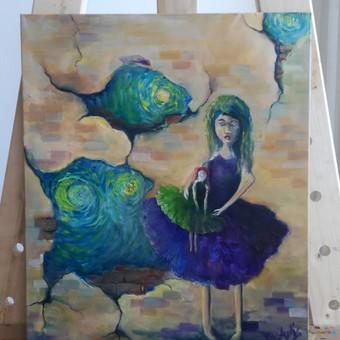 Mokinio nutapytas Kūrybinis darbas. Drobė, aliejus. 60x50cm. 2019m.