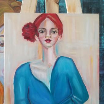 Mokinės nutapytas kūrybinis merginos portretas. Aliejus, drobė. 70x70cm. 2019m.
