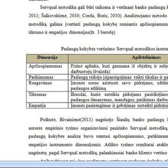 Užsakymo tematika - Banko paslaugų kokybės vertinimo metodai
