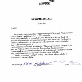 LNTAA sertifikuotas Nekilnojamojo turto brokeris / Artur Bogdevič / Darbų pavyzdys ID 661217