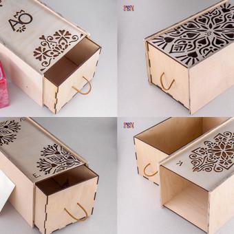 Asmeninės dovanos, medinių dėžučių rinkinys. Originali konstrukcija, dizainas, rašto pjovimas, graviravimas