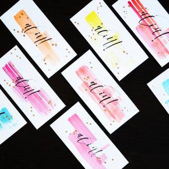 Padėkos kortelės /  Akvarelė, tušas, auksinis markeris