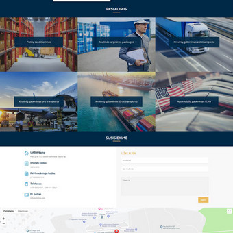 Logistikos įmonės www.arkama.com internetinė svetainė.