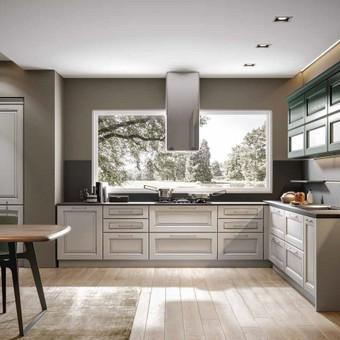 Baldų kaina nuo 500,-eur , nurodyta orientacinė baldų kaina už bėginį metrą. (Apatinės ir viršutinės spintelės), Fasadai medžio masyvas, korpusas LMDP Tiksli kaina skaičiuojama po proje ...