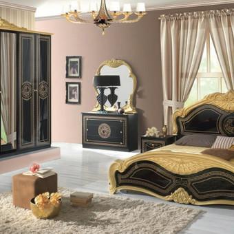 Nurodyta komplekto kaina.Lova 160 ,2 - naktiniai staliukai,komoda,veidrodis,spinta  4 durų arba 6 durų Spalva galima pasirinkti juoda (nero) Kilmės šalis Italija