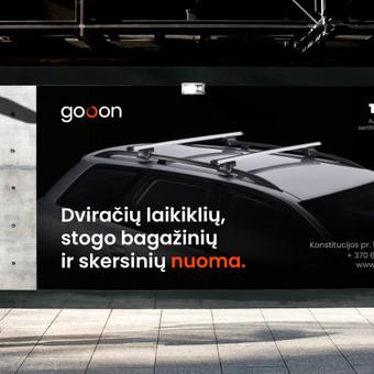 gooon: dviračių laikiklių, stogo bagažinių ir skersinių nuoma. Pavadinimo, logotipo ir firminio stiliaus sukūrimas.
