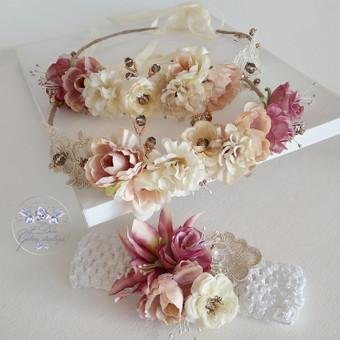 Šilko gėlių rinkinukas (rankų darbas): du lankeliai ir galvos juosta