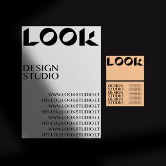 LOOK Studio logotipas, plakatas ir vizitinė