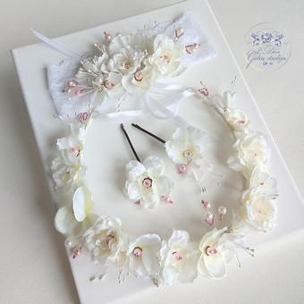 Šilko gėlių rinkinukas (rankų darbas): lankelis, galvos juosta ir plaukų segtukas