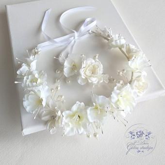 Šilko gėlių rinkinukas (rankų darbas): lankelis ir plaukų segtukas