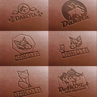 Logotipo įspaudas ant odos.