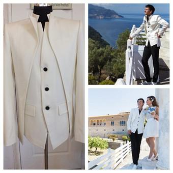 Išskirtinio modelio, originaliam jaunikiui, baltas švarkas su juodomis sagomis.