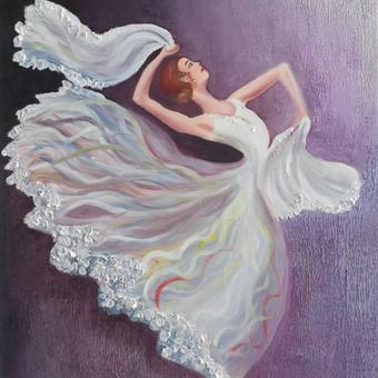Mokinės nutapyta balerina. Drobė, aliejus. 70x60cm. 2019m.