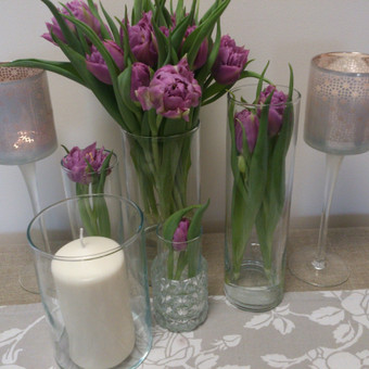 Įvairių aukščių cilindrinių vazų nuoma.
