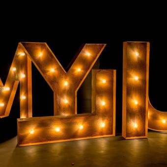Lights&Letters sendintos raidės su antikvarinėmis lemputėmis MYLIU
