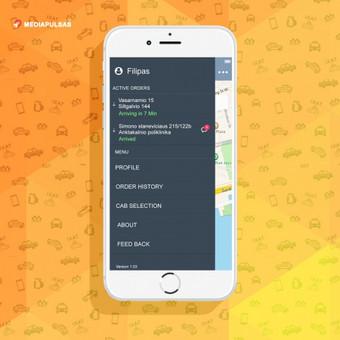 Daugia-funkcinė taksi užsakimo programėlė (Android ir ios platformom). Taksi užsakymas, gps vietos nustatymas, vairuotojos sekimas, vertinimas.