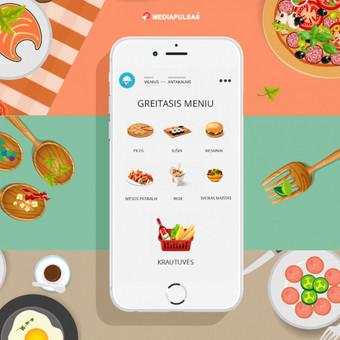 Maisto į namus užsakymo programėlė, web aplinka užsakymų priemimui, kurjerių programėlė.
