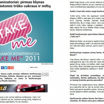 "Interviu, skelbtas 15min.lt, su reklamos konferencijos ""Take me"" organizatoriumi"