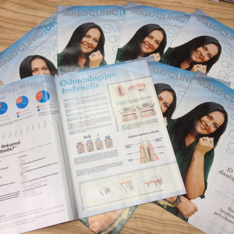Tekstai reklaminiam 8 puslapių odontologijos klinikos leidiniui.