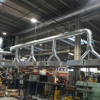 Gamybinių patalpų oro nutraukimo ir filtravimo sistemos montavimas.