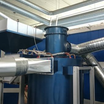 Dažymo kameros dulkių nutraukimo ir filtravimo sistemos montavimas.