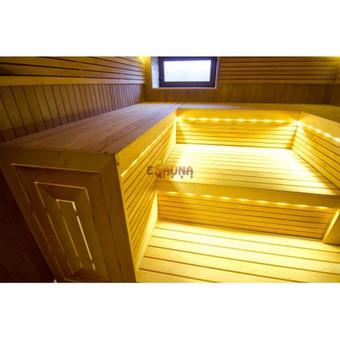 Sauna Kretingoje Pirtelės gultai trijų aukštų. Aukščiausios rūšies juodalksnio mediena, LED apšvietimas, kalvio darbo krosnelė. Stilistiškas gultų galų uždarymas. Stiklinės durys su s ...