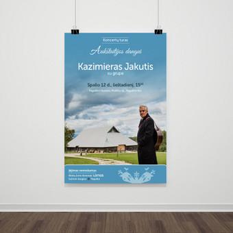 """""""LONAS"""" įkūrėjo Kazimiero Jakučio koncertų turo """"Aukštaitijos dangui"""" reklaminė medžiaga."""