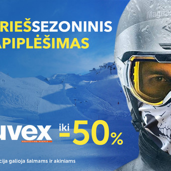 BIKKO Dviračiai - reklaminis UVEX akcijos baneris.