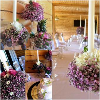 Rožinis vestuvių dekoras