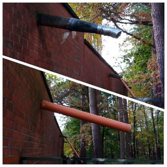 Nestandartinis darbas. Lietaus vandens nuvedimas, kuo toliau nuo pastato. Dėl vaizdo galima diskutuoti, bet ir kaimynas kažką panašaus pasidaręs :)