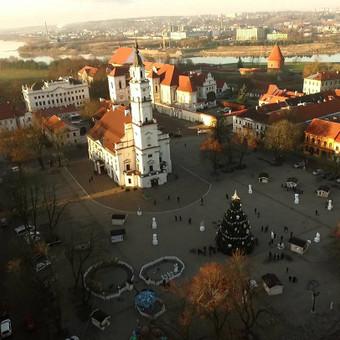 Miesto eglutės panorama iš pauščio skrydžio - žinių naujienų portalui.