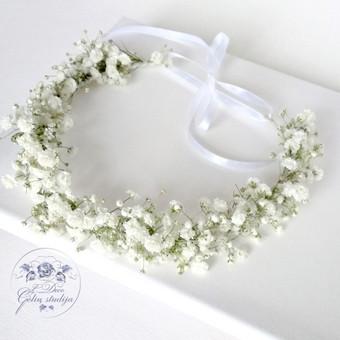 Skintų/gyvų gėlių lankelis iš gubojos