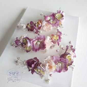 Šilko gėlių plaukų puošmenos