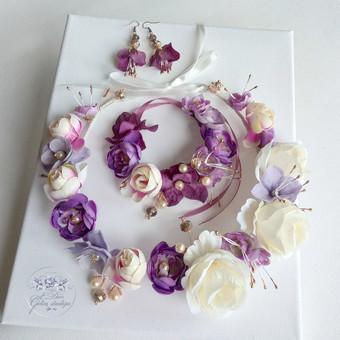 Šilko gėlių rinkinukas (rankų darbas): lankelis, apyrankė ir auskarai