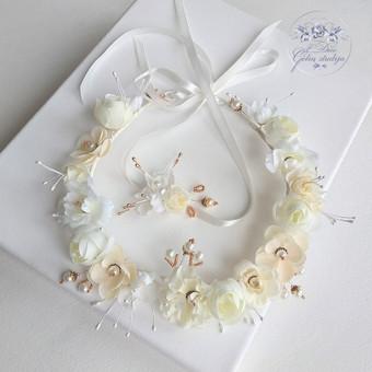 Šilko gėlių rinkinukas (rankų darbas): lankelis,ir papuošimas žvakei