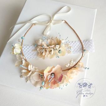 Šilko gėlių rinkinukas (rankų darbas): lankelis ir galvos juosta