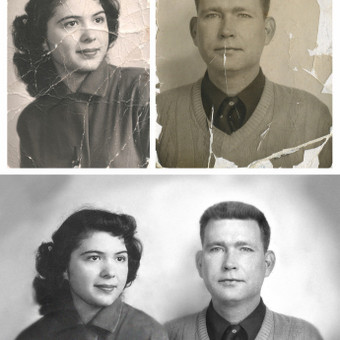 Senų nuotraukų restauravimas ir sujungimas į vieną. 4,00€ už sutvarkytą vieną nuotrauką + 4€ dviejų vaizdų sujungimas į vieną